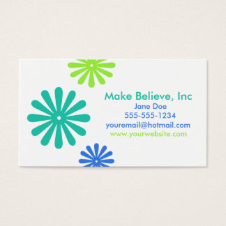 Rétros fleurs bleues et vertes cartes de visite