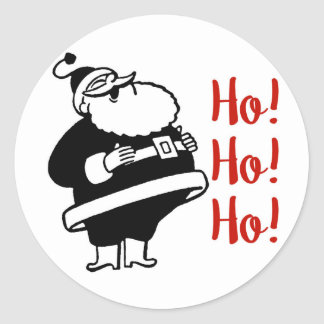Rétros Ho Ho Ho autocollants ronds de Père Noël |