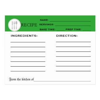 Rétros outils de cuisine de carte de chef de vert