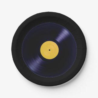 Rétros plats de disque de vinyle de style ancien assiettes en papier