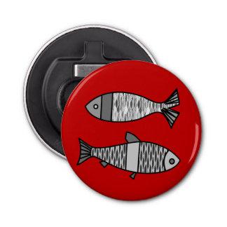 Rétros poissons modernes, rouge-foncé et gris/gris décapsuleur