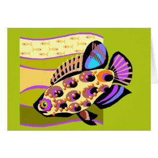 Rétros poissons tropicaux colorés carte