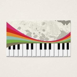Rétros rayures de couleurs de piano à la mode cartes de visite