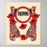 Rêver abstrait de pavot de papillon rouge de fleur affiches