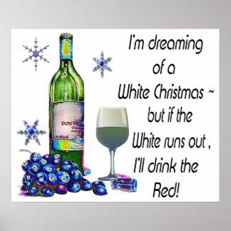Rêver de l'affiche humoristique de Noël de vin bla
