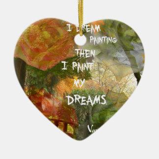 Rêver des roses gris et oranges ornement cœur en céramique