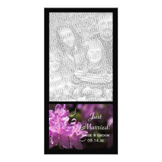 Rhododendrons roses juste mariés épousant le carte carte avec photo