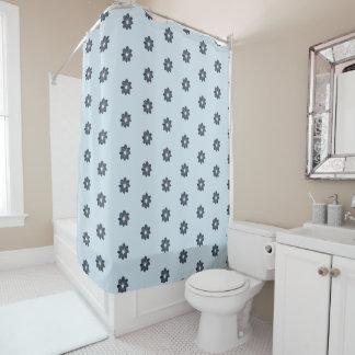 Rideau en douche bleu de motif de dahlia