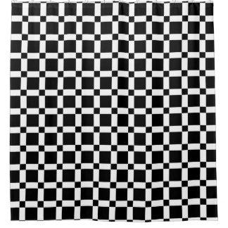 Rideau en douche carré noir et blanc de tuile
