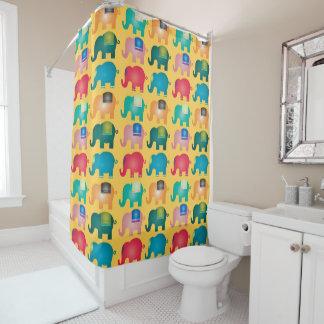 Rideau en douche coloré d'éléphants