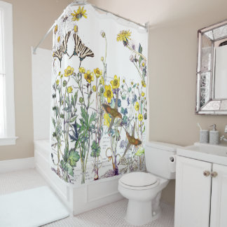 Rideau en douche de fleurs de papillon d'oiseaux