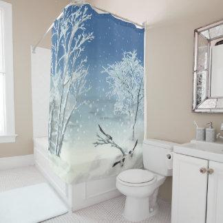 Rideau en douche de paysage d'hiver de pie