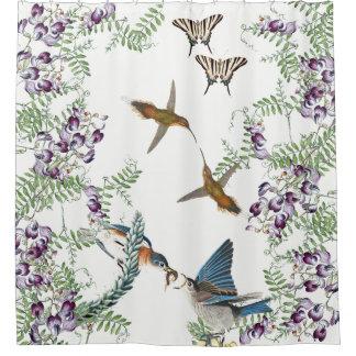 Rideau en douche de vigne de papillon d'oiseau