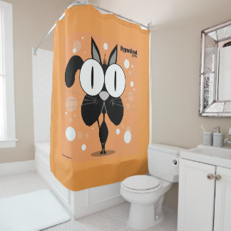 Rideau en douche la BG de chat (noir, orange)