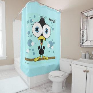 Rideau en douche la BG d'oiseau (noir, bleu-clair)