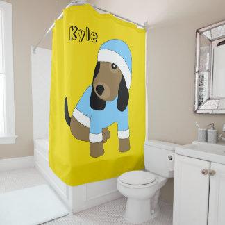 Rideau en douche mignon de jaune de chiot d'oeil