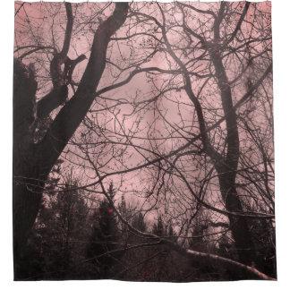Rideau en douche rose abstrait d'arbre