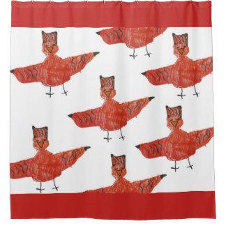 Rideau en douche rouge d'oiseau