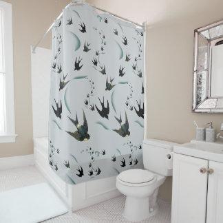 Rideau en douche vintage d'art d'oiseau