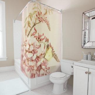 Rideau en douche vintage de fleurs de papillon de