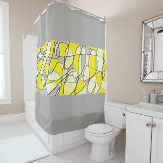 Rideau moderne abstrait jaune et de gris en douche