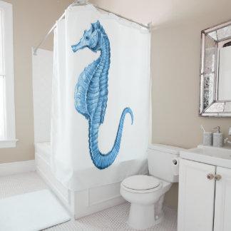 Rideaux De Douche Aquarelle nautique côtière bleue d'hippocampe