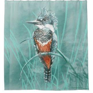 Rideaux De Douche Art de nature d'oiseau de martin-pêcheur