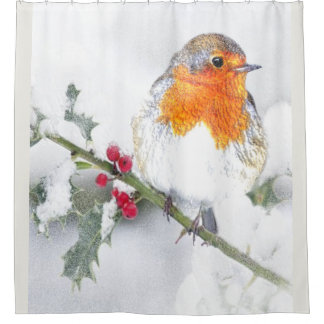 Rideaux De Douche Art de Noël de baies de houx d'hiver de Robin de