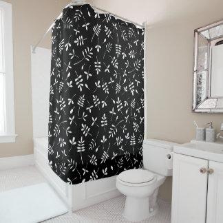 Rideaux De Douche Blanc de motif de mélange de feuille sur le noir
