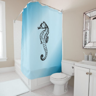 Rideaux De Douche Bleu d'hippocampe
