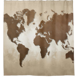 Rideaux De Douche Carte du monde de la conception 64