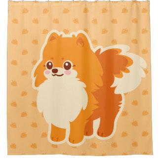 Rideaux De Douche Chien de bande dessinée de Kawaii Pomeranian