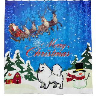 Rideaux De Douche Chien esquimau américain de Joyeux Noël avec Père