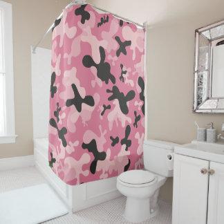 Rideaux De Douche Conception noire rose de Camo de camouflage