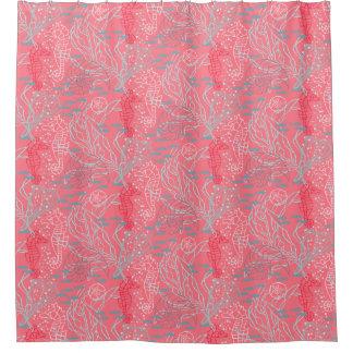 Rideaux De Douche Conception rosâtre de motif d'hippocampe et de