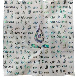 Rideaux De Douche D'or de symbole de pose de yoga vue sur le motif