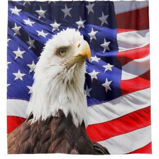 Rideaux De Douche Drapeau américain d'Eagle chauve