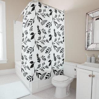 Rideaux De Douche Feuille noir et blanc abstrait moderne de