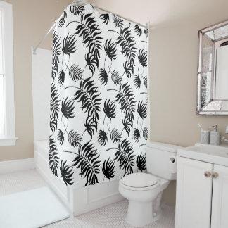 Rideaux De Douche Fleurs noires et blanches abstraites modernes de