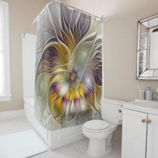 Rideaux De Douche Fractale moderne de fleur colorée abstraite
