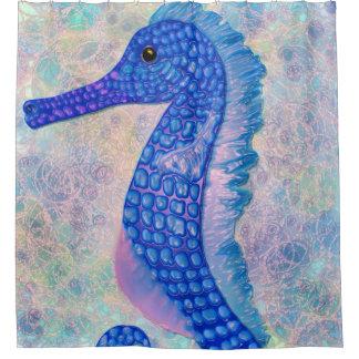 Rideaux De Douche Hippocampe bleu lunatique avec la douche de bulles