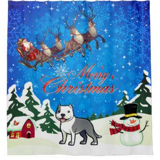 Rideaux De Douche Joyeux Noël le Staffordshire Terrier américain