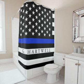 Rideaux De Douche La police a dénommé le nom de coutume de drapeau