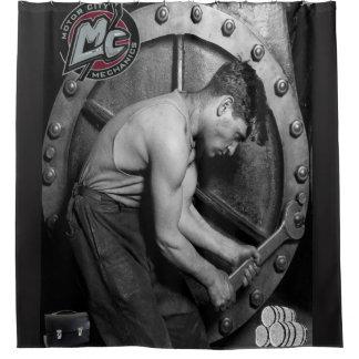 Rideaux De Douche Le showercurtain noir des hommes de mécanicien