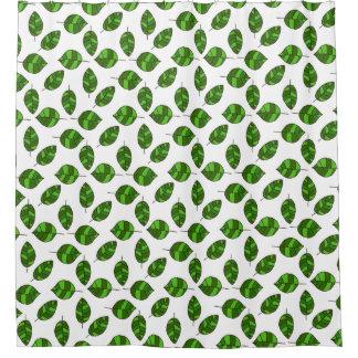 Rideaux De Douche L'été laisse le motif vert de feuille sur