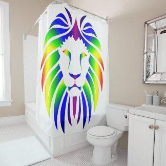 Rideaux De Douche Lion d'arc-en-ciel sur le blanc
