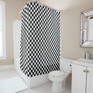 Rideaux De Douche Motif Checkered noir et blanc de damier
