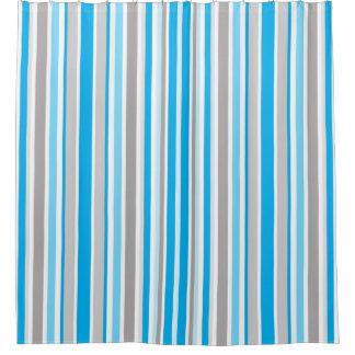 Rideaux De Douche Motif contemporain moderne de rayure bleue