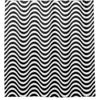 Rideaux De Douche Motif de zigzag noir contemporain moderne