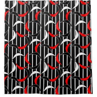 Rideaux De Douche Motif rouge contemporain de noir moderne d'abrégé